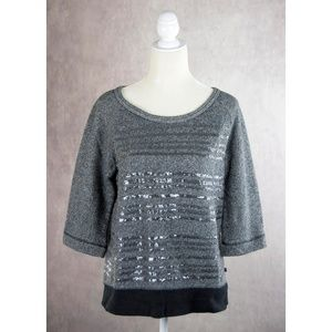 Victoria's Secret Grey Sequined Terry Knit Top XS